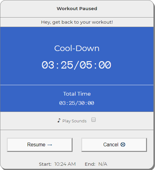 Cool-Down screen