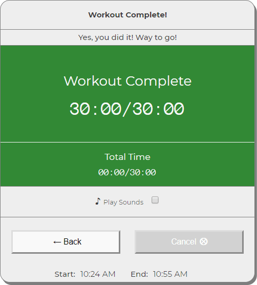 Workout completed screen